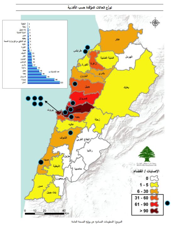 رسم توضيحي 1: النقط السوداء تدل على توزيع مراكز الاختبار في لبنان